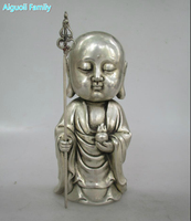 Antique antiques Collectible Decorated Old Handwork Tibet Silver Carved monk Statue/Metal Buddha Sculpture