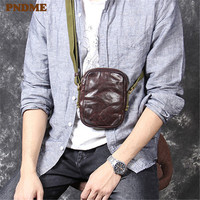 PNDME high quality simple genuine leather men's diagonal bag retro fashion soft cowhide folds light designer small shoulder bag