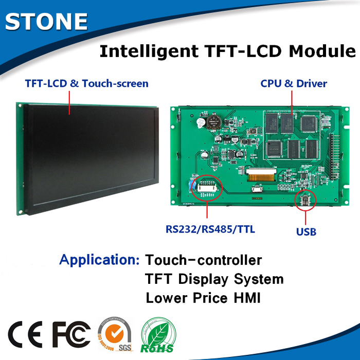8.0 TFT Touch Control Panel With RS232/RS485/TTL Port Via Instructive Codes