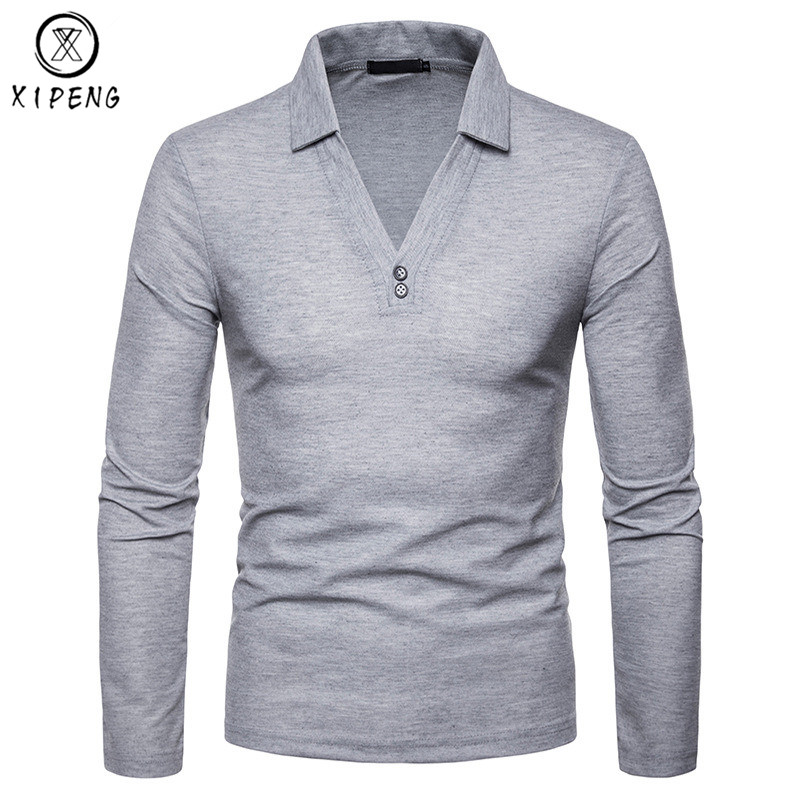 V-neck   Polo   Shirt Men Solid Color   Polos   Para Hombre Casual Long Sleeve Turn-down Collar Camisa   Polo   Slim   Polo   Homme Top Tees XXL
