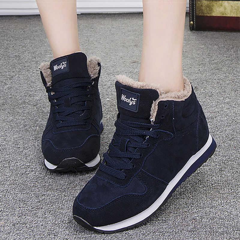 Moda kadın botları kış kar çizmeler kadın ayakkabıları kış sıcak peluş bileğe kadar bot kadın ayakkabı artı boyutu 35 46