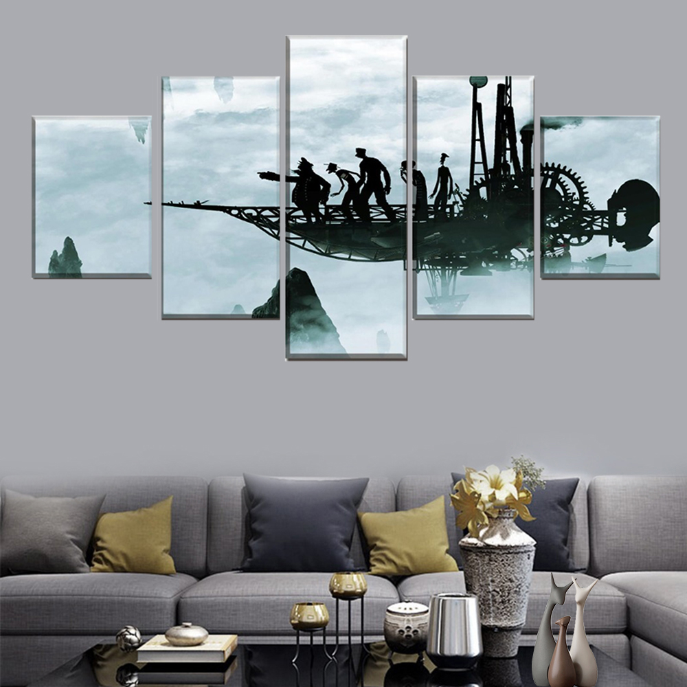 5 panel airplane fog sci-fi steampunk and abstract people poster modern wall art canvas print painting home decor frame image