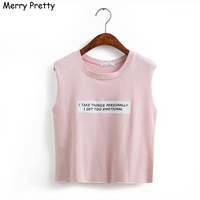 Merry Pretty woman tank top letter print crop tops women solid color sexy Tight Bustier Skinny T-Shirt Belly Casual Dance Tops
