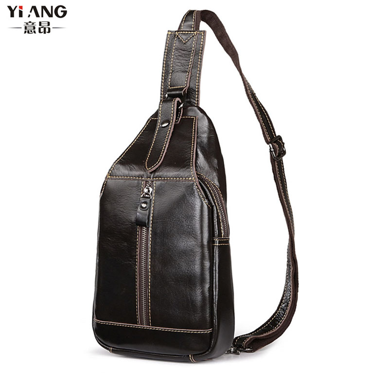 Men Genuine Leather Cowhide Vintage Sling Pack Chest Bag Travel Shoulder Cross Body Messenger Pack