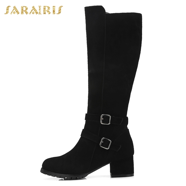 SARAIRIS Cow Suede New Zip Up Shoes Woman Boots Hot Sale Square Heels Add Fur Mid Calf Boots Woman Shoes Winter Size 34-40 1