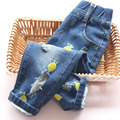 Girls jeans  2016 Spring Autumn High quality embroidery lemon  Casual Denim Pants kid Ripped Jeans Children's Clothing