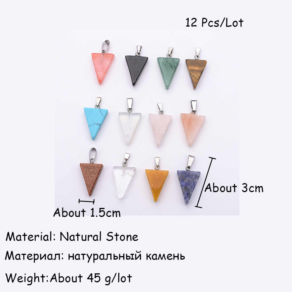 Natural Stone Silver Cross Heart Moon Ball Necklace Charms Pendant for DIY Jewelry Making Accessories Women Men 12pcs/lot