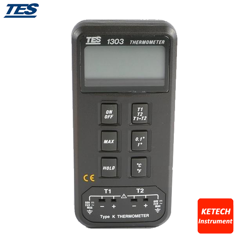 цена на Digital Thermometer Dual K Type T1 T2 TES1303