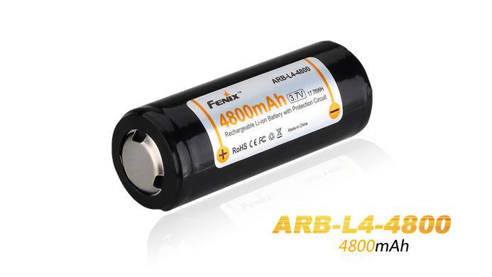 Fenix ARB-L4-4800 high capacity 26650 4800mAh 3.7V Li-ion rechargeable battery specially designed for high-drain devices