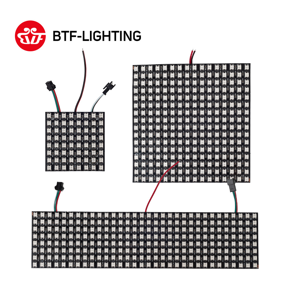 WS2812B RGB LED Panel Screen 8x8 16x16 8x32 256 Pixels Digital Flexible Programmed Individually Addressable Full Color DC5V