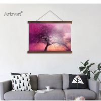 Scroll painting art autumn tree world natural scenery modern home wall decoration picture for kids room hanging canvas SCP (144)
