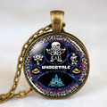 Undertale Collage Wheel Game Gamer Gaming Mens Handmade Fashion Necklace brass silver Pendant steampunk Jewelry Gift women chain