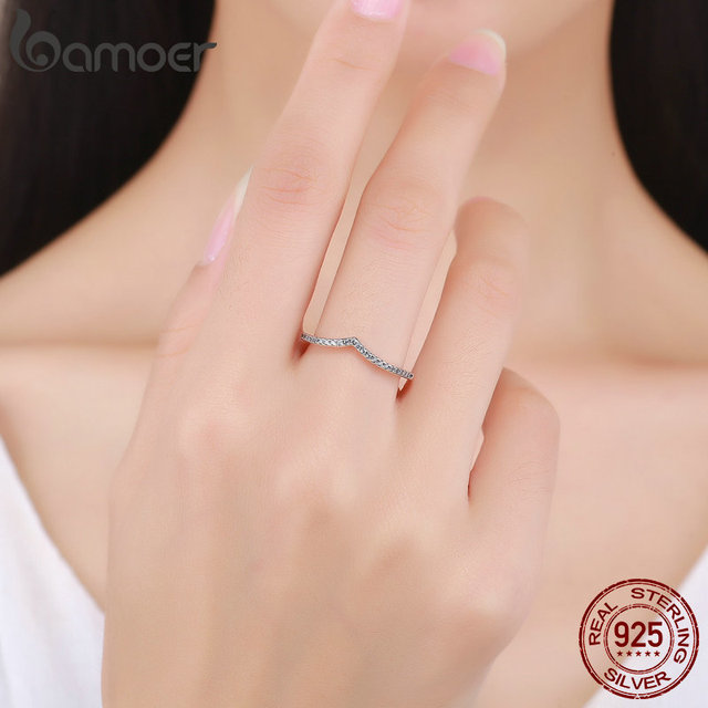 BAMOER 100% 925 Sterling Silver Water Droplet Clear CZ Finger Rings for Women Wedding Engagement Jewelry Girlfriend Gift PA7649 5