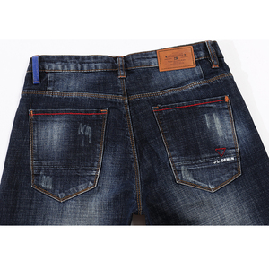 Image 4 - KSTUN חדש עזיבות ג ינס גברים איכות מותג עסקי מזדמן זכר ג ינס מכנסיים ישר Slim Fit כהה כחול גברים של מכנסיים אדם יונג