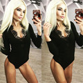 bodysuit women new lace stitching deep V collar body Leotard sexy black bodysuit fitness womens jumpsuit workout T534