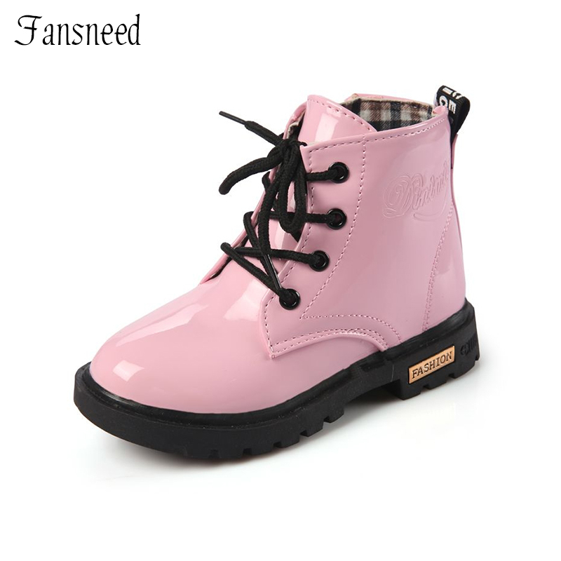 2016child leather boots female child riding boots boys ...