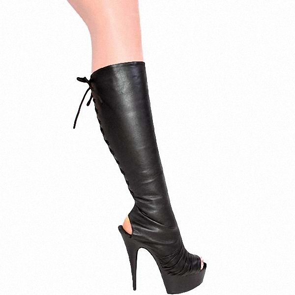 ФОТО new arrival Classic high heels cool boots sexy open toe cutout sexy knee high boots dance shoes