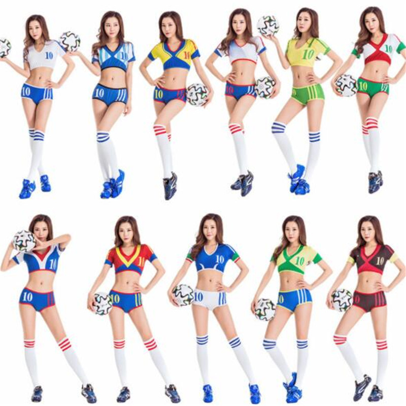 10sets Women&Girl Cheerleading Uniforms Football Baby Cheer Jerseys US&UK Soccer National Team Fitness Sport Tops+Boxers(Shorts)