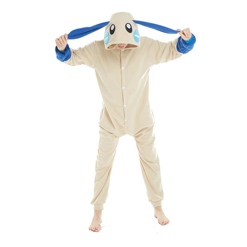 2018 New Arrival Animal Onesie Adult Unisex Blue Rabbit Pajamas Cartoon Sleepwear Men Women Winter Jumpsuits