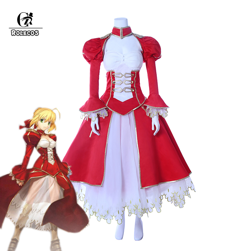 ROLECOS Japanese Anime Fate Grand Order Cosplay Costume Artoria Pendragon Nero Cosplay Costume Saber Cosplay Full