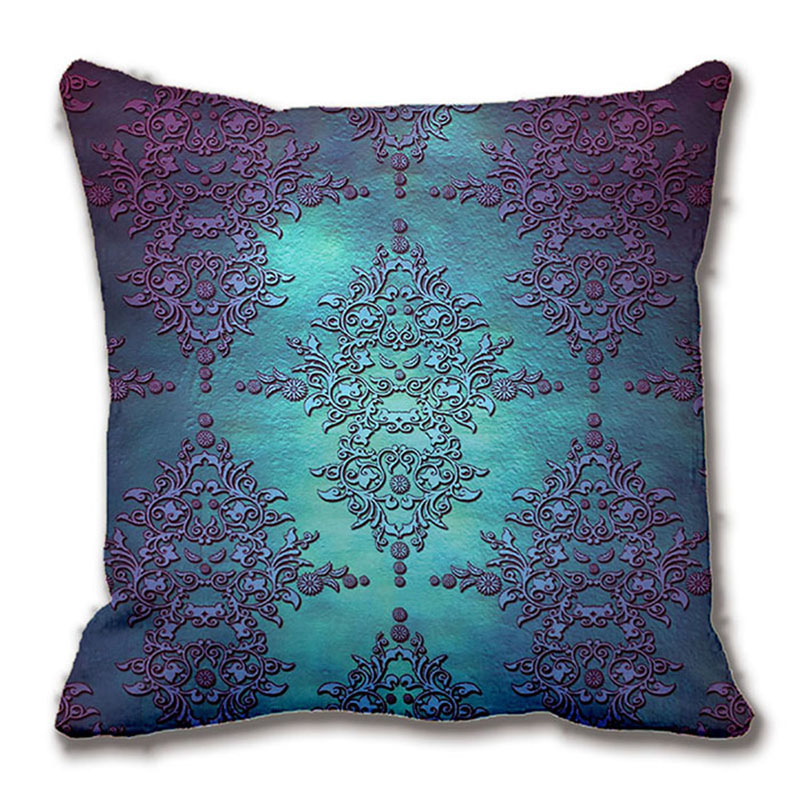 Fancy Throw Pillow Patterns : Fancy Teal To Purple Damask Pattern Throw Pillow Decorative Cushion Cover Pillow Case Customize ...
