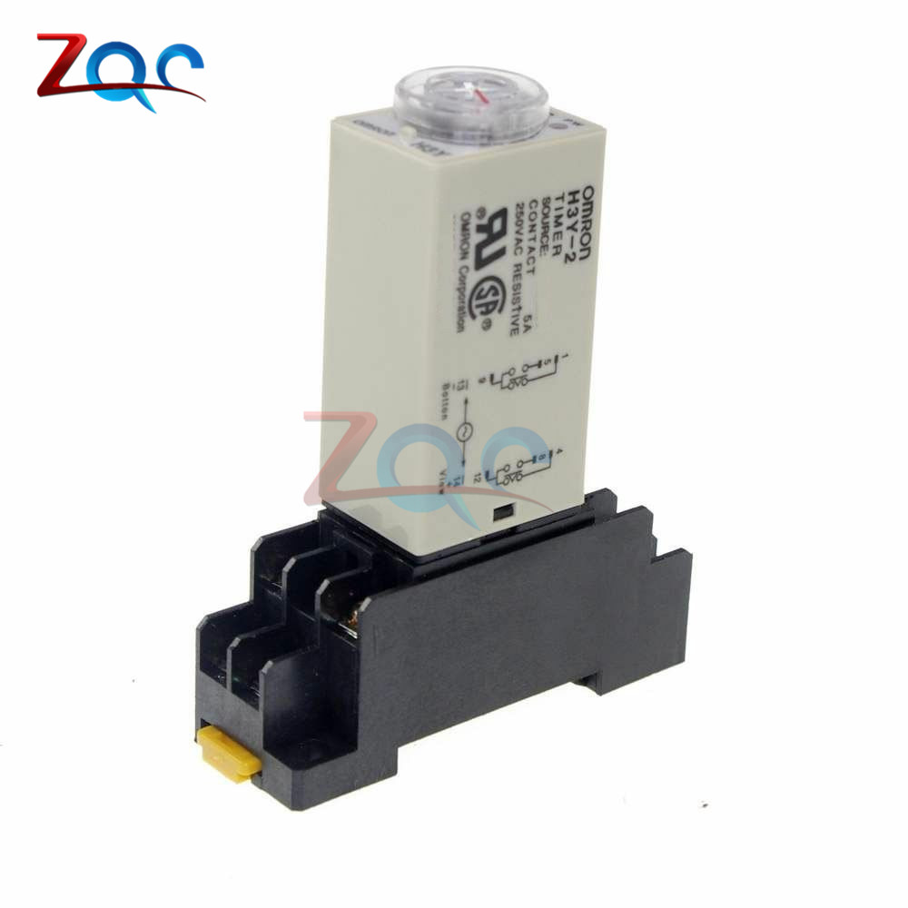 цена на 1-30 Minute H3Y-2 Base Power On Time Delay Solid-State Timer Relay DPDT AC 220V 110V module