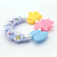 Silikon Baby Rattle Teether Toy Baby Tänder Tassar Tänder Halsband Ring Tugg Charms Baby Tandläkare Gift Småbarn Leksaker Grossist