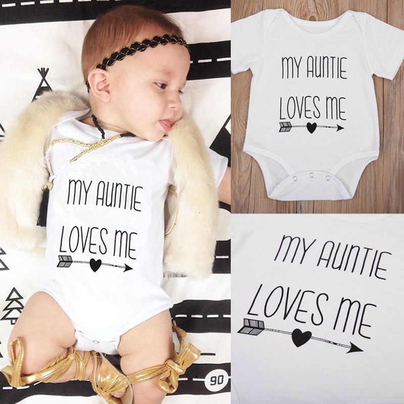 My Auntie Loves Me Baby Boy Girls Bodysuit Jumpsuit Cotton Clothes Outfit ...