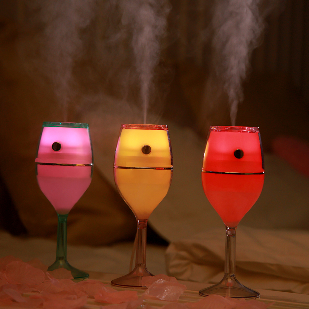 Creative Wineglass Ultrasonic Mini Humidifier Air Purifier with Colorful LED Night Light USB Goblet Aroma Diffuser Mist Fogger portable mini air humidifier purifier night light with usb for home office decorations