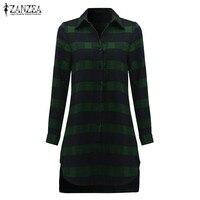 ZANZEA Autumn Women 2016 Lapel Neck Long Sleeve Split Asymmetrical Hem Long Tops Loose Plaid Shirt