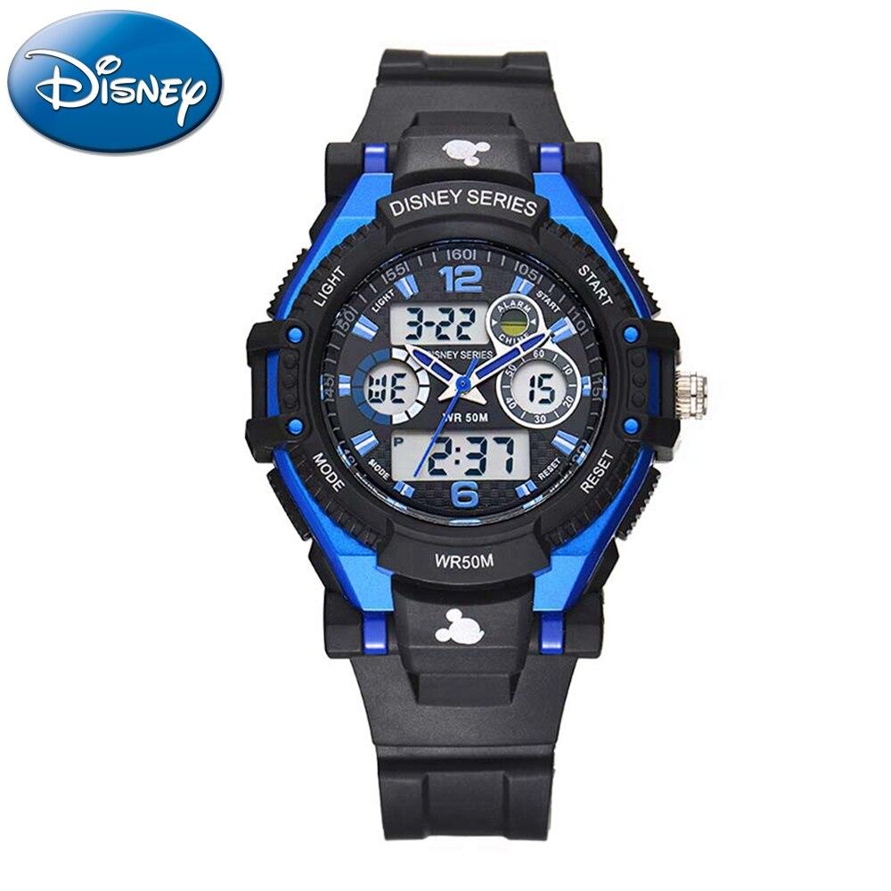 d0f18a8b581 Atm de Borracha Disney Crianças Esportes Multifuncional Relógio Menino  Menina Gosta 5 à Prova d  Água Levou Rodada Relógios de Quartzo Mickey