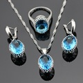 Made in China Oval Blue Created Topaz Women Jewelry Sets Silver Color Earrings/Pendant/Necklace/Rings Free Gift Box