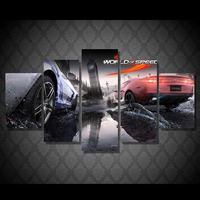 5pcs Car Game Poster Unframed Canvas Painting On The Wall Pictures For Living Room Modern Oil Cuadros Decoracion Modular Picture