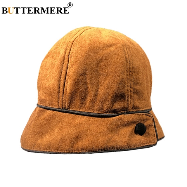 24a55e5ba03 BUTTERMERE Yellow Bucket Hats Women Suede Leather Fishing Caps Ladies  Foldable Winter Hat Warm Vintage Bob Fisherman Hats 2019