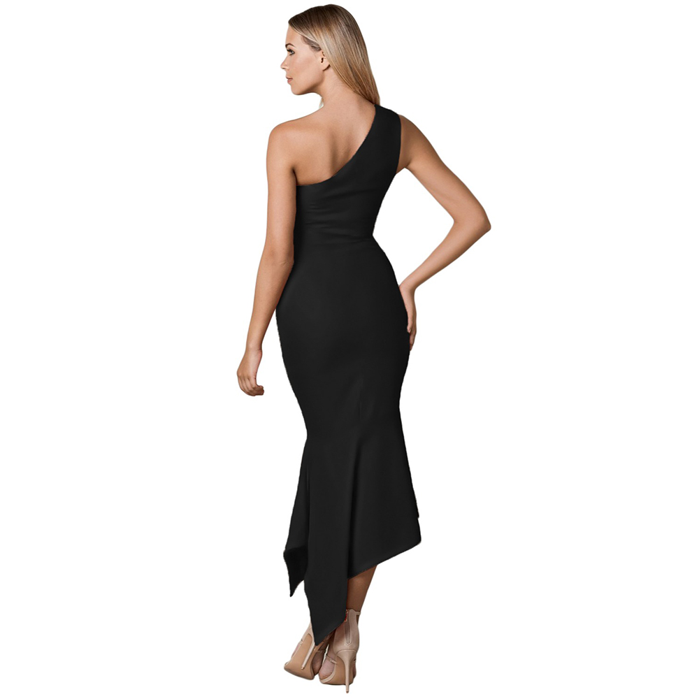 9365a1369f372 US $22.59  Women Gowns Long Summer Ladies Dresses Solid Black Blue Sexy One  Shoulder Tulip Party Maxi Dress 2018 Female Vestidos LC610142-in Dresses ...