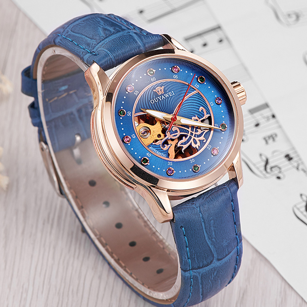 OUYAWEI Women's Watch Leather Strap Diamond Dial Skeleton Ladies Wristwatch Automatic Mechanical Relogio Feminino