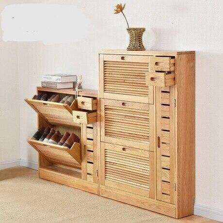 Shoe Cabinets Rack Rangement Chaussure Home Furniture Embly Solid Wood Shutter Organizer Organizador De