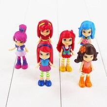 6 sztuk/zestaw 8cm Polly figurka truskawka ciastko Berryfest lalka księżniczka ciasto Micro Kid zabawka na imprezę prezenty