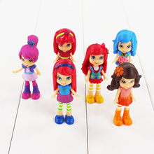 6PCS/Set 8cm Polly Action Figure Strawberry Shortcake Berryfest Princess Doll Cake Micro Kid Party Toy Gifts