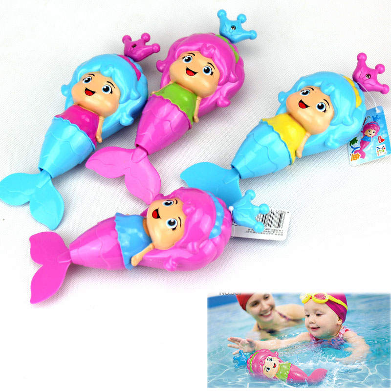 1 Pcs Baby bath toy Cute Mermaid Clockwork Dabbling floating Swimming Wound Up Water play Cartoon Educational learning bath Toys