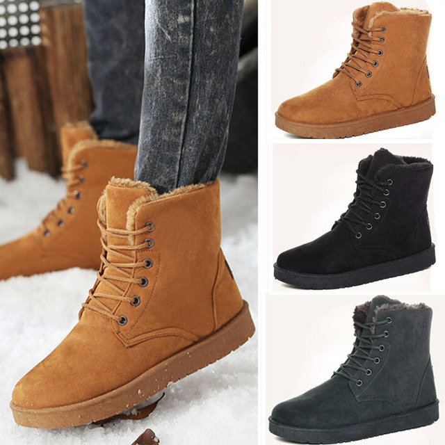 Womens Pointed Toe Flat Sneakers Lace Up Winter Warm Fur Lined Casual Shoes Size