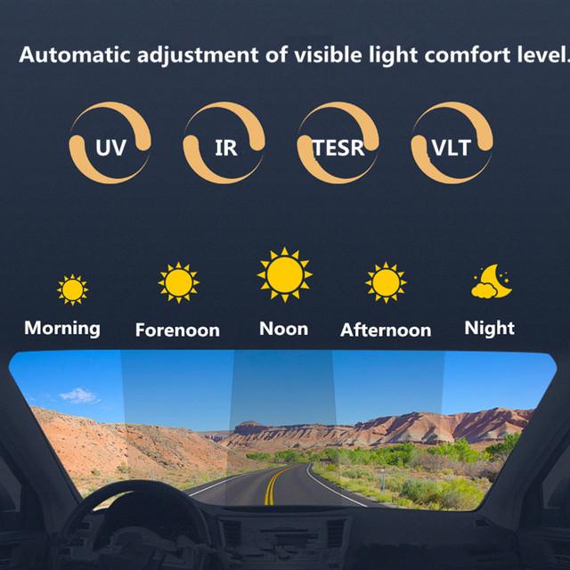SUNICE Sputter Solar Tint Photochromic Film Car Windshield Heat Rejection Hme Building Solar Protection Summer Use 1.52×0.5m
