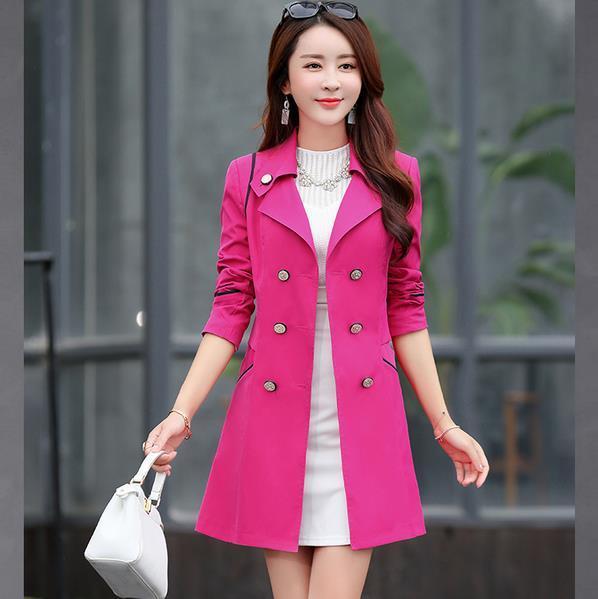 1 PC Trench Coat pour femme Double boutonnage Slim Fit Long printemps manteau élégant Feminino Abrigos Mujer automne survêtement