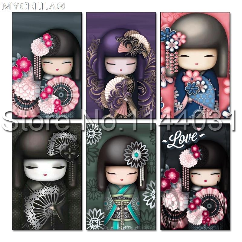 5D DIY Diamond Painting Kimono Dolls Diamond Mosaic Cartoon Picture Cross Stitch Full Rhinestone Embroidery Needlework Kits Gift