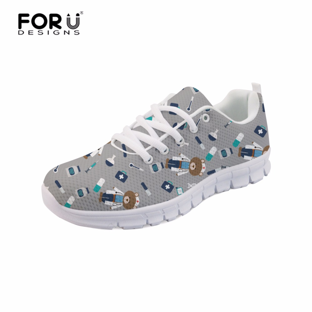 FORUDESIGNS 2018 3D Enfermera Linda Impreso Zapatillas de Deporte - Zapatos de mujer