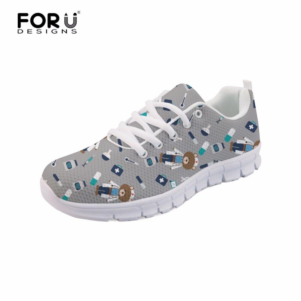 FORUDESIGNS 2018 3D Sød sygeplejerske Trykte Kvinder Sneakers Sko - Damesko