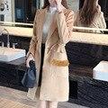 Корейских Женщин Шерстяное Пальто Дамы Шерстяное Пальто 2016 Осень-Зима перья Карманы Нагрудные Кашемир Длинное Пальто Для Женщин Плащ Ourwear 2XL