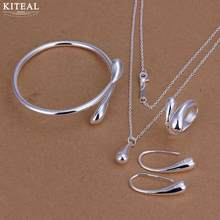 Factory price top quality Gold /silver color raindrop/Waterdrops 925 stamp jewelry sets necklace bracelet bangle earring ring(China)