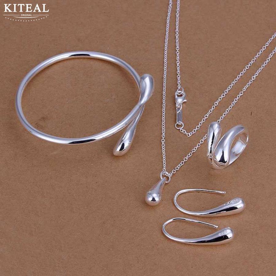 e8fb0d5f9ca0 Precio de fábrica de alta calidad de oro color plata gota Waterdrops sello  925 conjuntos de joyas