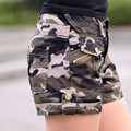 women military camouflage hot shorts Lady girl zipper pocket Mini shorts overalls jeans Combat cargo shorts